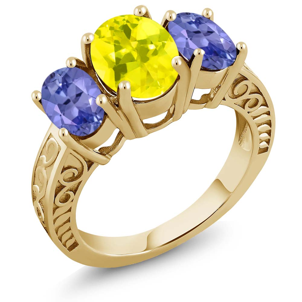 3.30 Ct Canary Mystic Topaz Blue Tanzanite 18K Yellow Gold Plated Silver Ring by