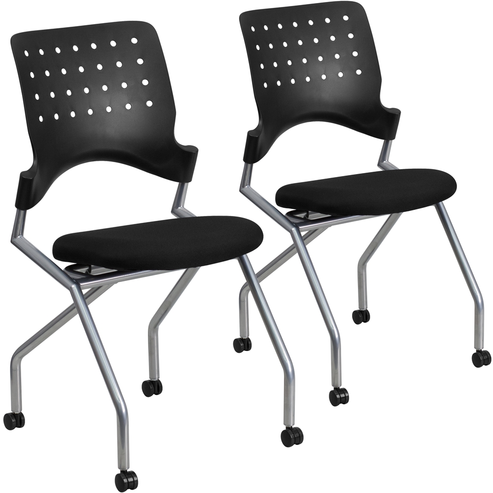 sc 1 st  Walmart & 2 Pk.Mobile Nesting Chair with Black Fabric Seat - Walmart.com