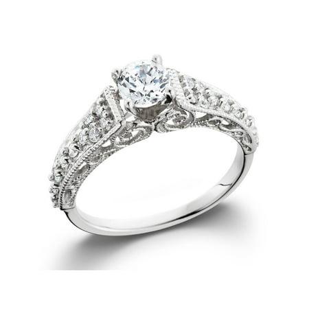1/2 carat Vintage Filigree Diamond Solitaire Engagement Ring 14K White (14k Filigree Diamond Ring)