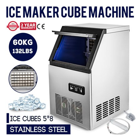 60KG/132LB Built-In Commercial Ice Maker Ice Cube Machine LCD Panel (Ice Machine Accepts Custom Panel)