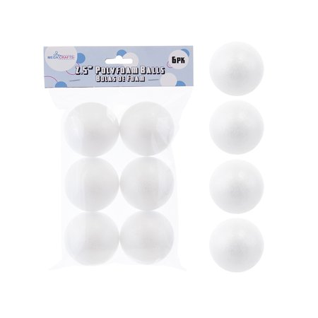 Foam Balls Craft (Mega Crafts - 6 Pcs Poly Craft Foam 2.5'' Inch Ball | Durable, Solid Polystyrene Balls For Arts & Crafts, Ornaments, School Projects, Knitting & Party Favors | For Kids,)