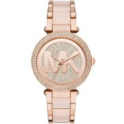 Michael Kors Women's Parker Crystal Pave Logo Rose Gold Watch MK6176