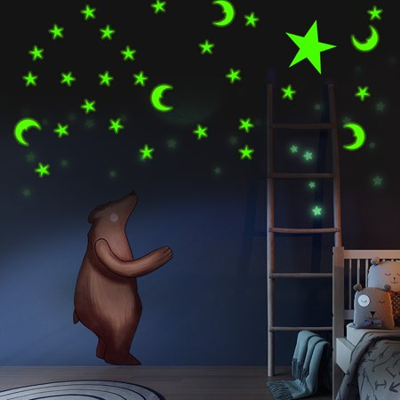 200Pcs Self Adhesive Cute 3D Star Moon Wall Sticker Glow In The Dark Home Ceiling Decor Room Decal Mural Vinyl Art DIY Non-toxic Christmas Gift - Christmas Ceiling Decor