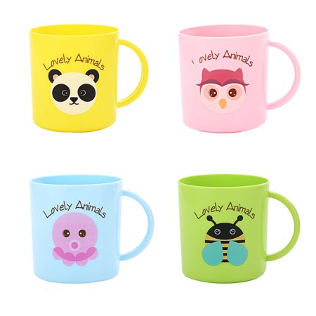 250ML Child Milk Cup Animal Head Portrait Drinking Water Plastic Cups Baby Training Learning Drink Cup Juice Cup (Random Color) (Toddler Cups For Milk)