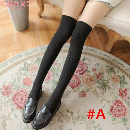 2PC Women's Non-slip Thigh High Over Knee Fake High Cylinder Stitching Silk Stocking Silk Stocking Margarita