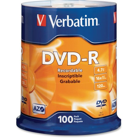 Verbatim, VER95102, DataLife Plus Printable DVD-R Discs, 100, Silver