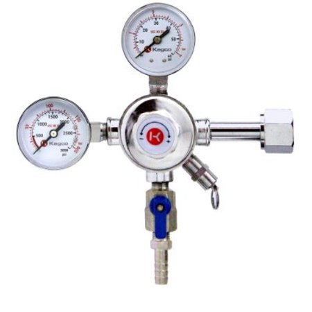 Kegco KC LH-542 Premium Pro Series Dual Gauge Co2 Draft Beer Regulator, Chrome