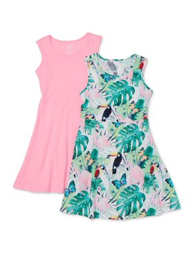 Wonder Nation Girls 4-18 & Plus Spring Summer Tank Play Dress, 2-Pack