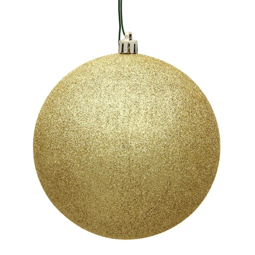 "Vickerman 484227 - 4.75"" Gold Plastic Glitter Ball Christmas Tree Ornament (4 pack) (N591268DG)"