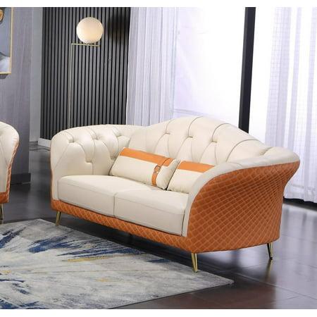 Italian Leather Off White & Orange Loveseat AMALIA EUROPEAN FURNITURE Modern