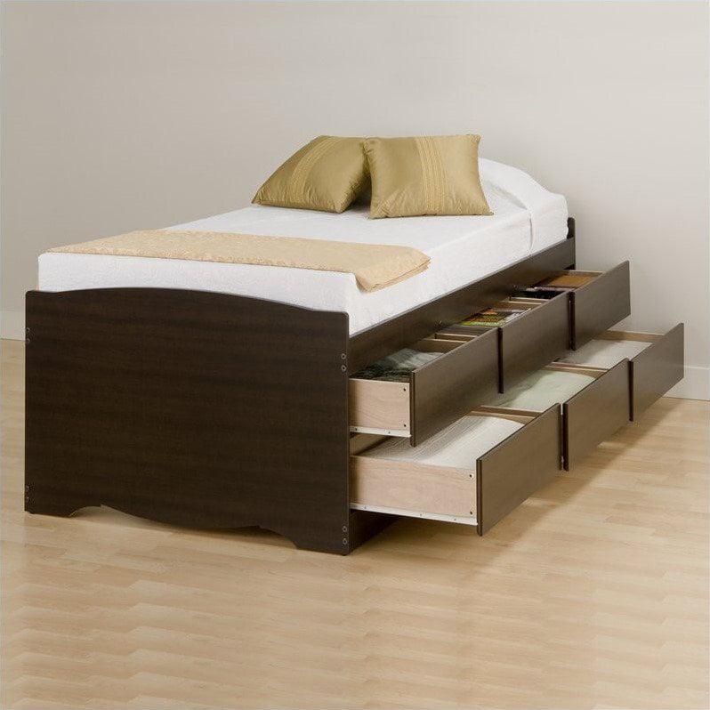 Prepac Manhattan Tall Twin Platform Storage Bed in Espresso