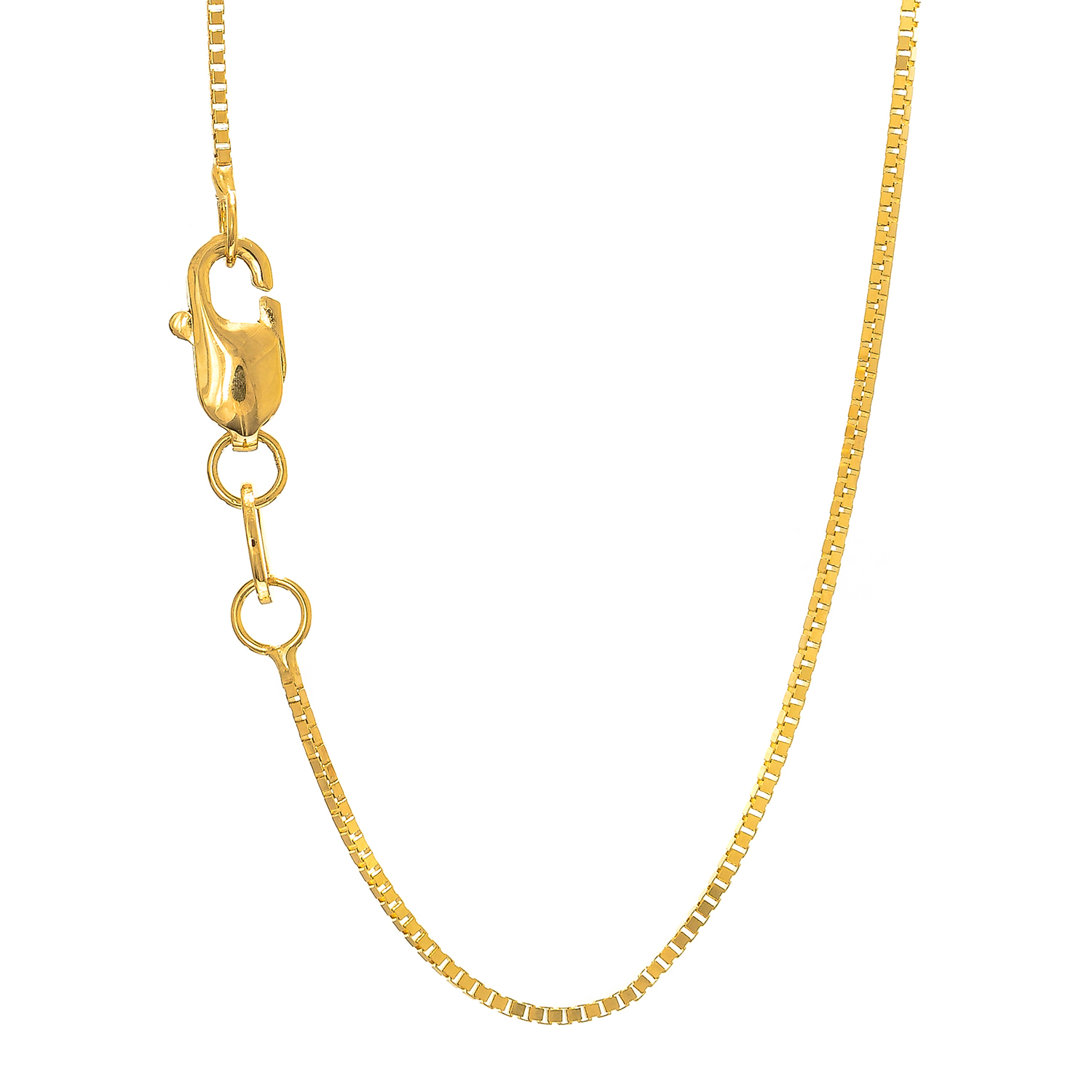 "18k Solid Yellow Gold .6 mm Box Chain Necklace 18"" New Lobster Claw by JewelStop"