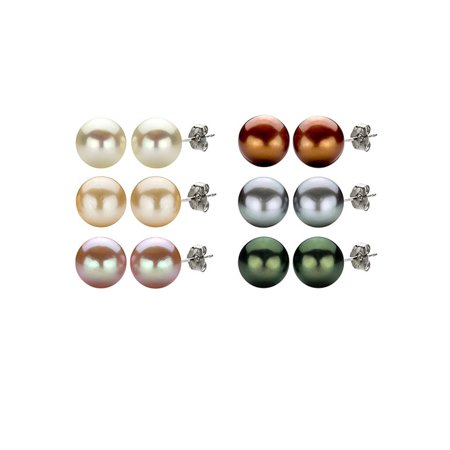 ADDURN 8-9mm White, Black, Pink, Grey, Brown and Peach Cultured Freshwater Pearl Earrings Set with Sterling Silver Clasps, 6 Pairs