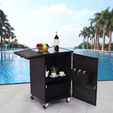 Gymax Rattan Wicker Kitchen Trolley Cart Patio Roller Dining Storage Glass Stand