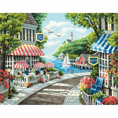 Dimensions 91455 Paint By Number Kit 11 inch x 14 inch-Cafe By The Sea