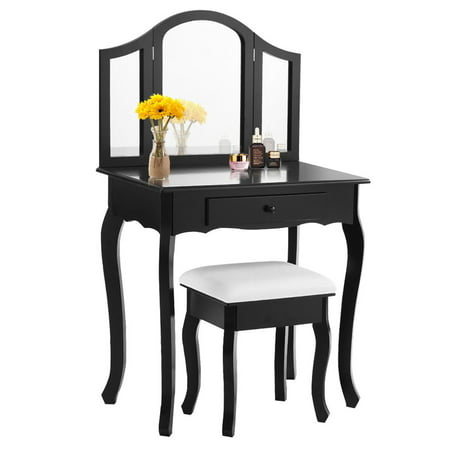 Costway Black Tri Folding Mirror Vanity Makeup Table Set Bathroom W Stool Drawers