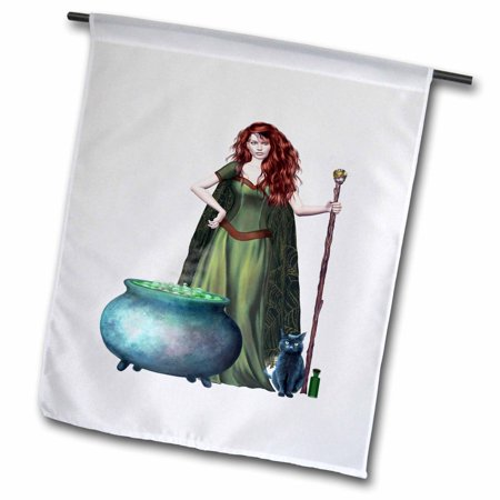 3dRose Halloween Pretty Witch and Cat - Garden Flag, 12 by 18-inch](Pretty Cat Makeup For Halloween)