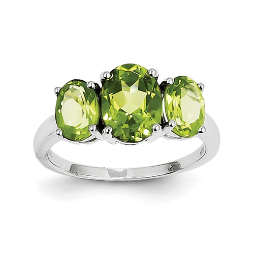 14k White Gold Triple Stone Peridot Oval Gemstone Ring. Gem Wt- 3ct by Jewelrypot