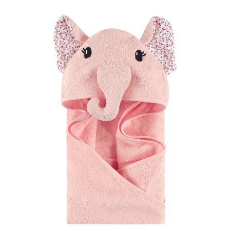 Little Treasure Animal Face Woven Terry Hooded Towel - Floral Elephant ()