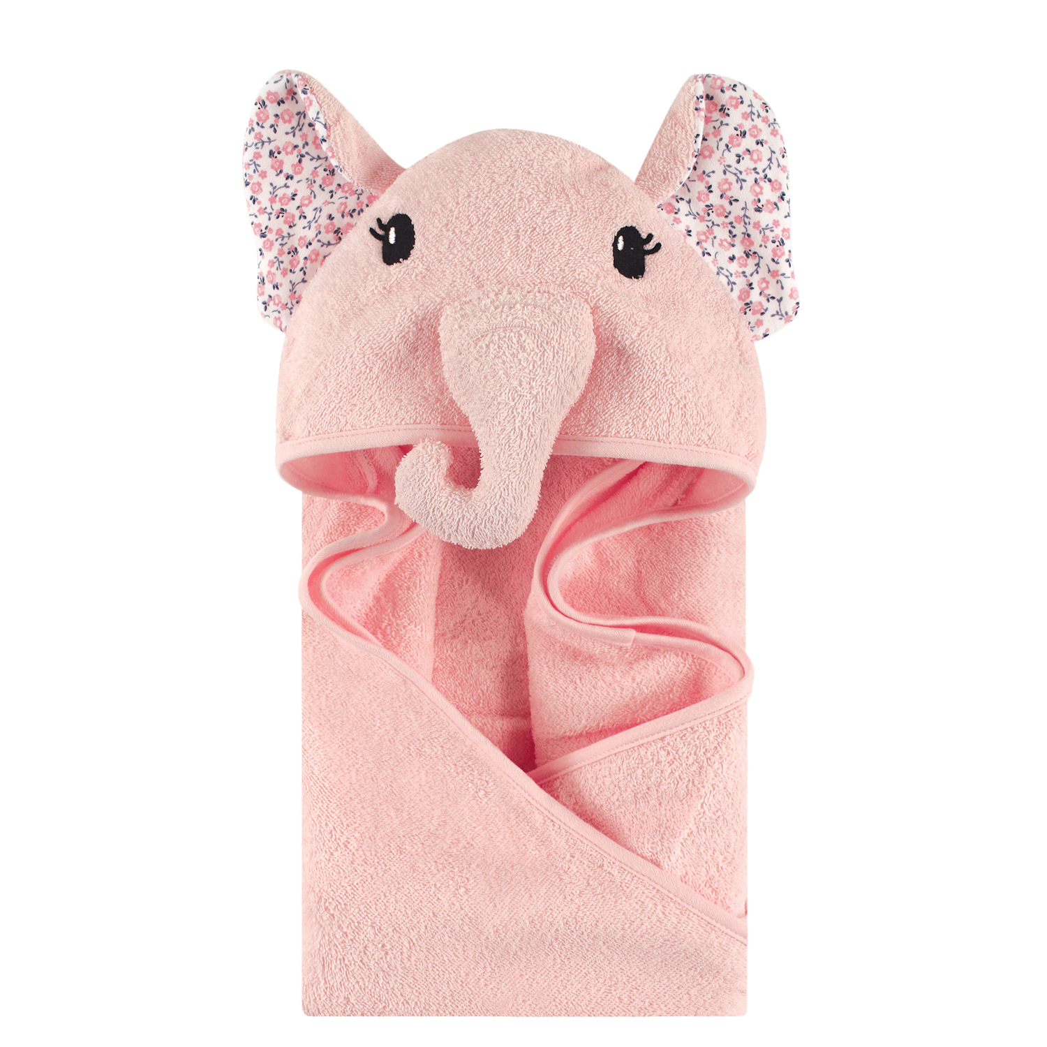 Little Treasure Animal Face Woven Terry Hooded Towel - Floral Elephant