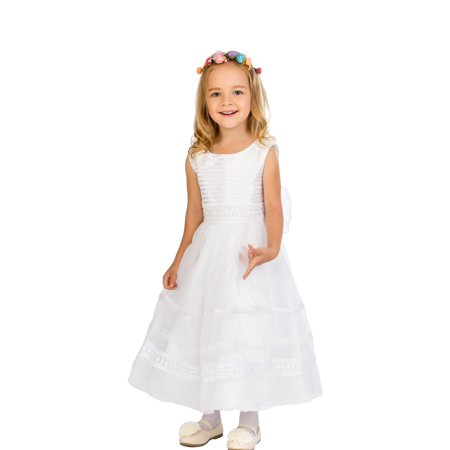 Efavormart Ivory Striped Organza and Beaded Lace Trim Dress Birthday Girl Dress Junior Flower Girl Wedding Party Gown Girls Dress