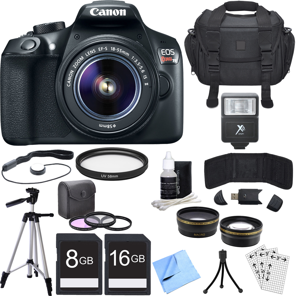 Canon EOS Rebel T6 Digital SLR Camera with EF-S 18-55mm IS II Lens + Accessory Bundle includes Camera, Lens, Bag, Filter Kit, Memory Cards, Tripod, Flash, Cleaning Kit, Beach Camera Cloth and More