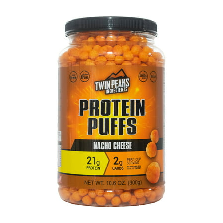 Twin Peaks Low Carb, Allergy Friendly Protein Puffs, Nacho Cheese (300g, 21g Protein, 2g Carbs, 130 Cals) -