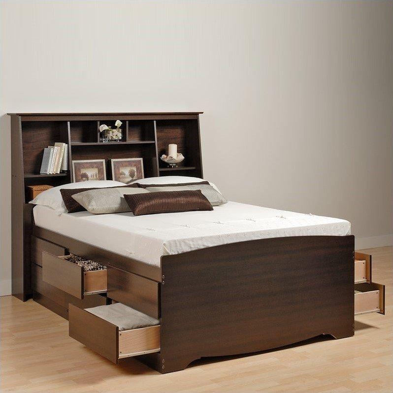 Prepac Manhattan Tall Double / Full Bookcase Platform Storage Bed in Espresso Finish