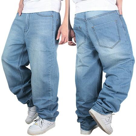Men's Fashion Jeans Straight Plus size loose Denim Trouser HIPHOP Pants wash blue US Size 30 to
