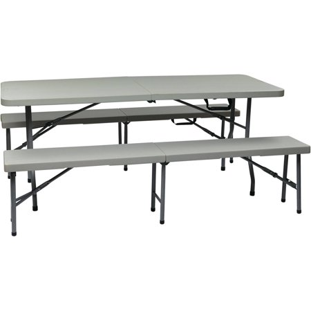 Office Star Work Smart 3-Piece Folding Table and Bench Set