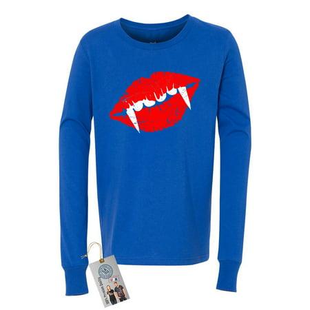 Draculas Lips Teeth Halloween Shirt Youth Long Sleeve T-Shirt](Black And White Halloween Lips)