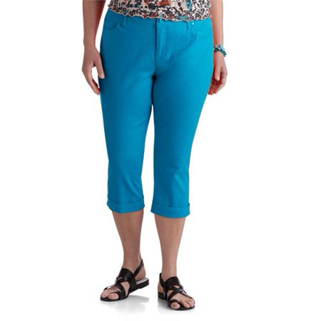 03defbc1d10 Faded Glory - Women s Plus-Size Roll Cuff Denim Capri Pants ...