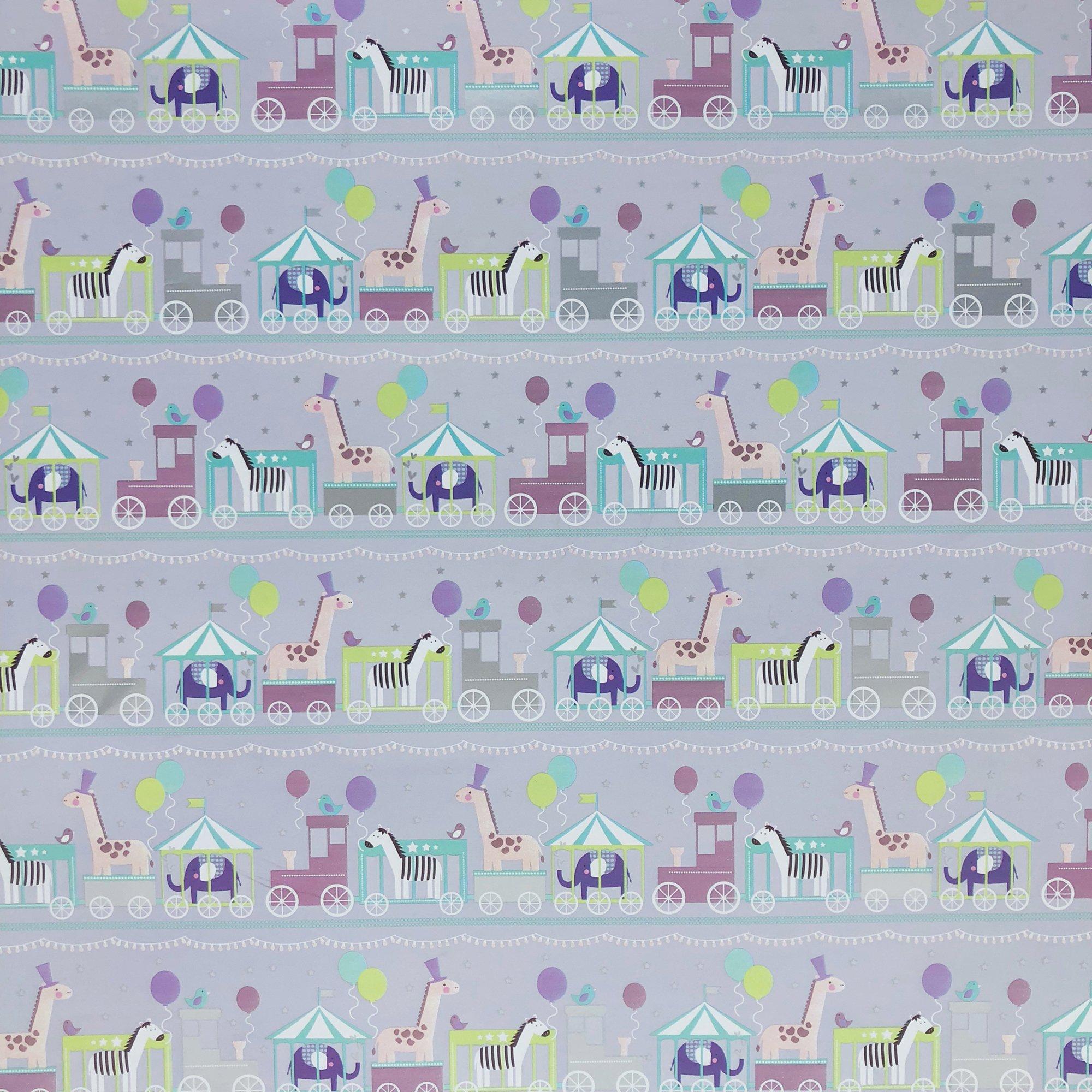 Jillson & Roberts Gift Wrap, Baby Train (8 Rolls 5ft x 30in)