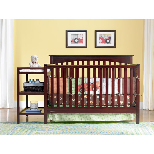 Graco - Woodbridge 2-in-1 Fixed-Side Crib and Changer Combo, Cherry