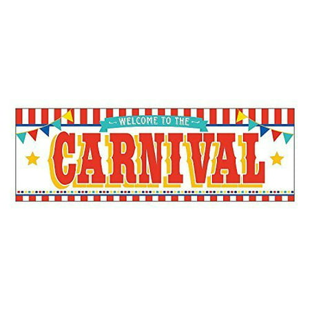 6 ft x 3 ft Welcome to the Carnival Banner Plastic Circus Celebration Party Sign