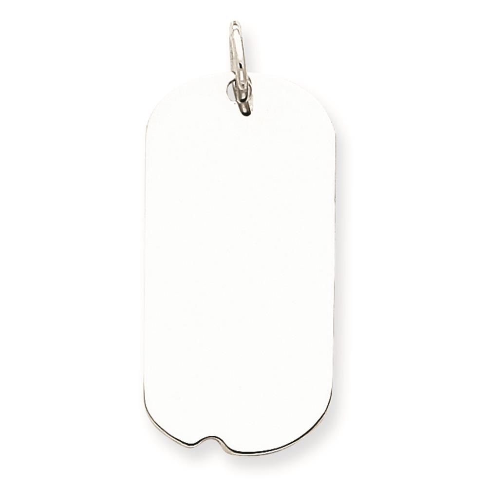 925 Sterling Silver Engravable Dog Tag Disc Charm Pendant 26mmx13mm