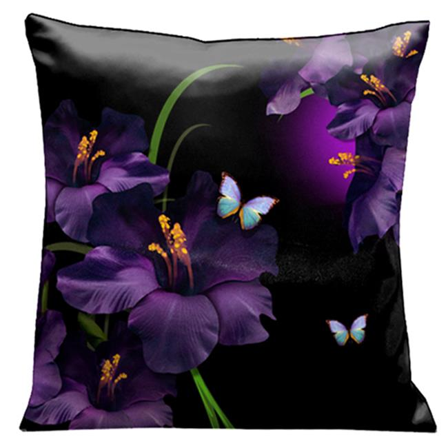 Lama Kasso 75 A Mass of Gladioli Amongst the Butterflies and Reeds on Black and Purple 18 in. Square Satin Pillow