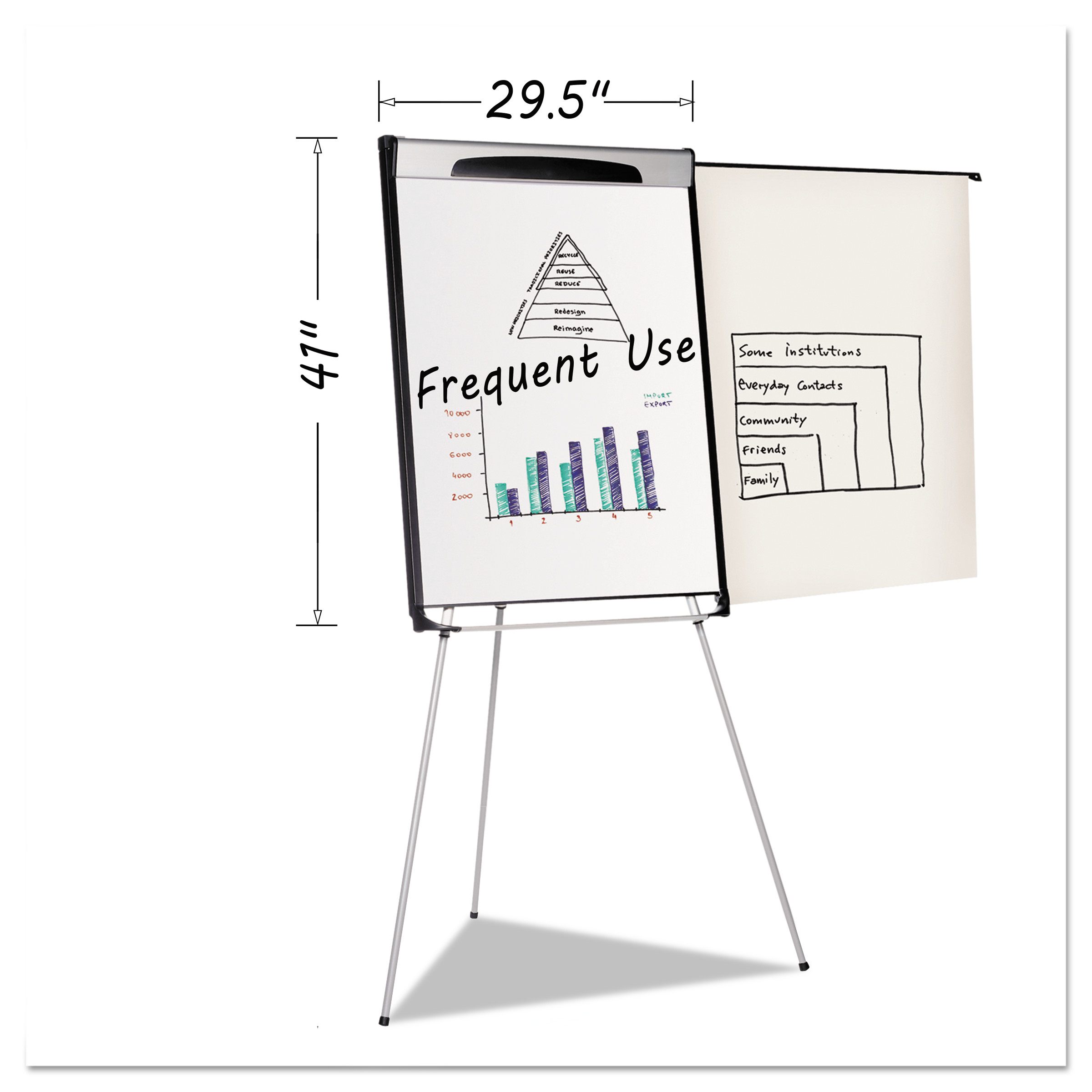 "MasterVision Tripod Extension Bar Magnetic Dry-Erase Easel, 39"" to 72"" High, Black/Silver"