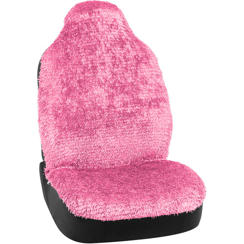 Bell Shiny Shaggy Universal Bucket Seat Cover, Pink