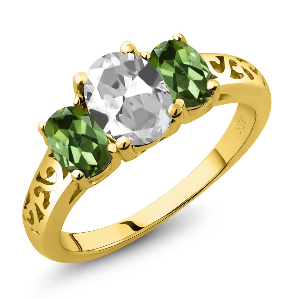 2.30 Ct Oval White Topaz Green Tourmaline 18K Yellow Gold 3-Stone Ring by