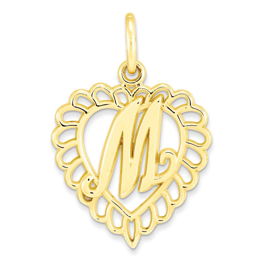 10k Yellow Gold Initial M Pendant