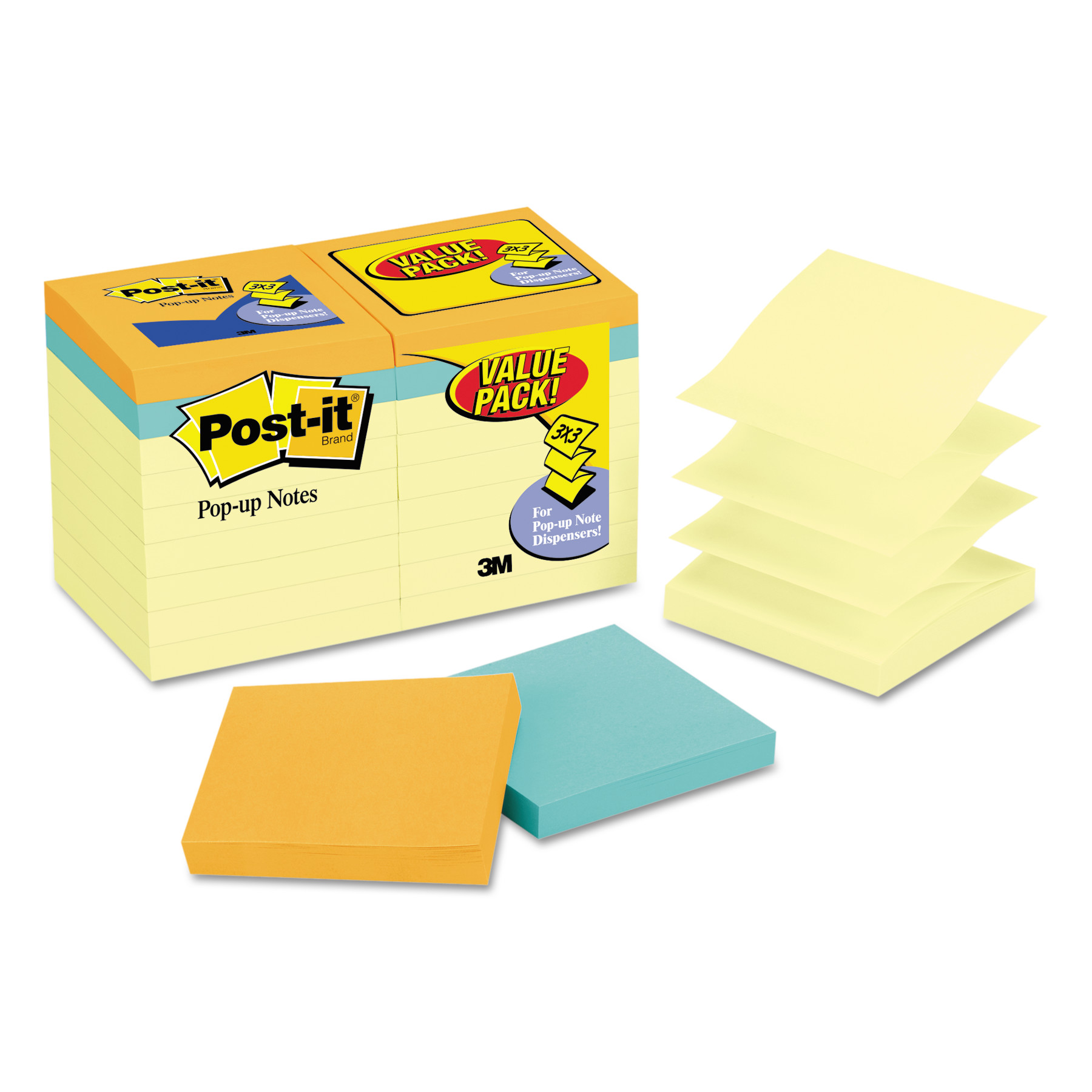 Post-it Original Pop-up Notes 18 Pack, 3in. x 3in., Canary and Cape Town Collection, 18 Pads per pack, 100 Sheets per Pad, 1800 Sheets Total