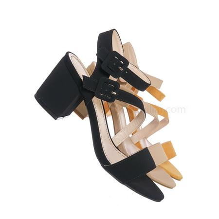 Highlight68 by Bamboo, Kitten Heel Open Toe Sandal - Buckle Chunky Block Heeled