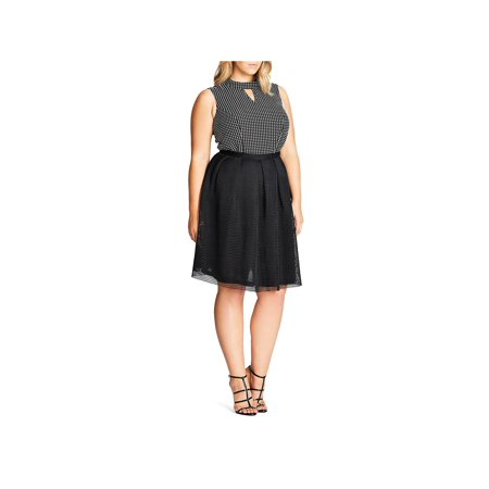 City Chic Womens Plus Love Me Mesh Overlay Knee-Length A-Line Skirt Black 16W