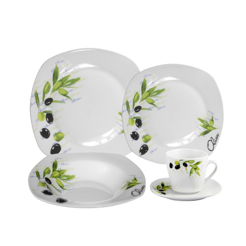 Lorren Home Trends Porcelain 20 Piece Square Dinnerware Set, Service for 4