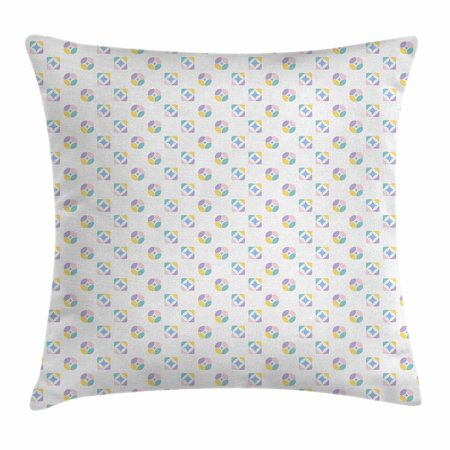 Abstract Forms (Modern Decor Throw Pillow Cushion Cover, Abstract Geometric Icons in Soft Toned Kaleidoscope Forms Motif, Decorative Square Accent Pillow Case, 20 X 20 Inches, Lavender Pink Blue Yellow, by)