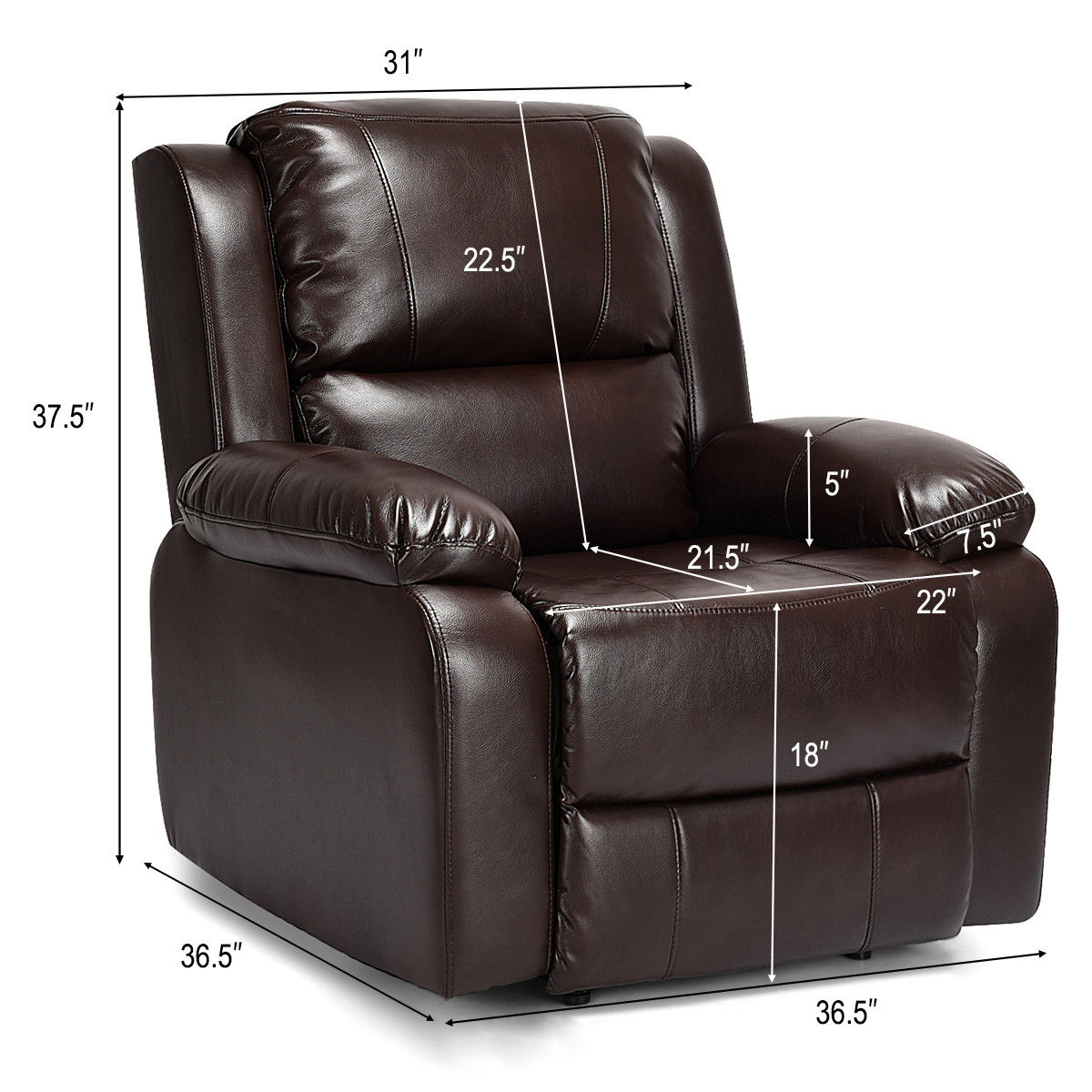 Strange Costway Manual Recliner Sofa Lounge Chair Pu Leather Home Theater Padded Reclining Brown Spiritservingveterans Wood Chair Design Ideas Spiritservingveteransorg