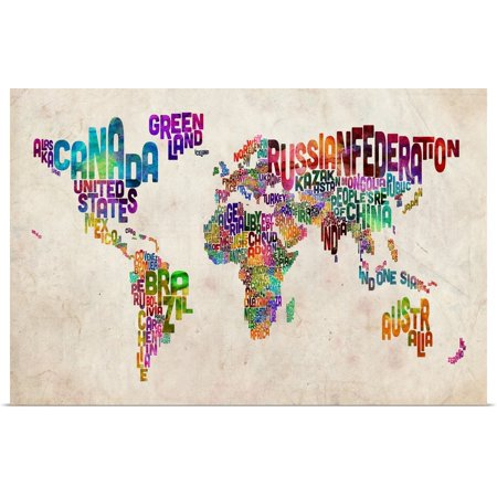 Great BIG Canvas | Rolled Michael Tompsett Poster Print entitled World Map made up of country (Best Made Up Country Names)