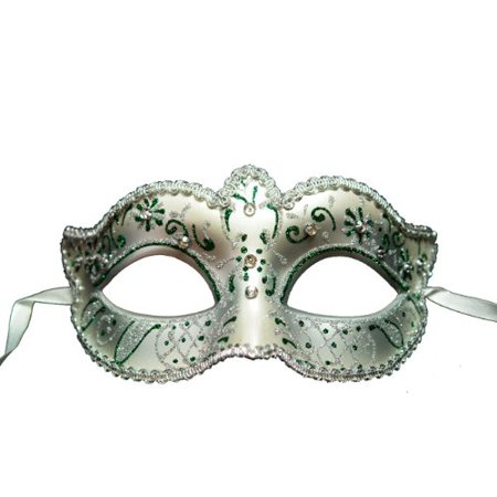 Venetian White   Silver Eye Mask With Rhinestone  Colors May Vary   Hand Painted Paper Mache Eye Mask By Best Deal Ever