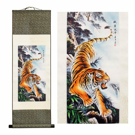 Scroll Painting Traditional Oriental Arts Wall Decor Mountain Tiger To Roar B11708-19